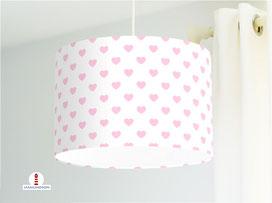 Lampe Kinderzimmer Mädchen Rosa Herzen auf Weiß aus Bio-Baumwollstoff - alle Farben möglich