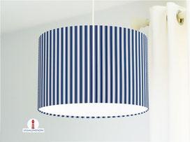 Lampenschirm für Kinderzimmer mit Streifen in Marineblau aus Bio-Baumwollstoff - alle Farben möglich