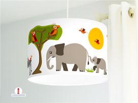 Kinderlampe mit Safari Tieren Elefanten und Löwen aus Baumwolle