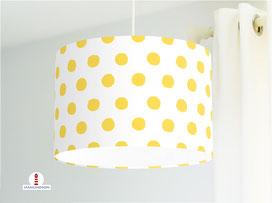 Lampe für Kinderzimmer mit gelben Tupfen auf Weiß aus Baumwolle - alle Farben möglich