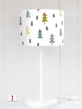 Lampenschirm für Tischlampe Wald Bäume Tannen Ocker Grau-Blau aus Baumwolle - alle Farben möglich