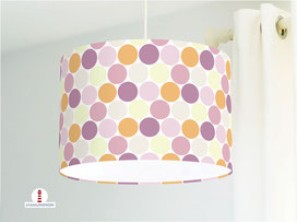 Lampe für Mädchenzimmer mit großen Punkten in Pastell aus Bio-Baumwolle - alle Farben möglich