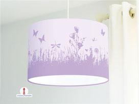 Lampe für Kinderzimmer mit Blumenwiese in Flieder aus Bio-Baumwolle - alle Farben möglich
