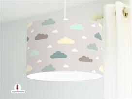 Lampe Kinderzimmer Wolken in Mint auf Grau aus Bio-Baumwollstoff - alle Farben möglich