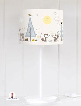 Lampenschirm für Tischlampe fürs Kinderzimmer Waldtiere Fuchs Bär aus Baumwolle - alle Farben möglich