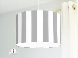 Lampe für Küche und Schlafzimmer mit breiten Streifen in Hellgrau aus Bio-Baumwollstoff - alle Farben möglich