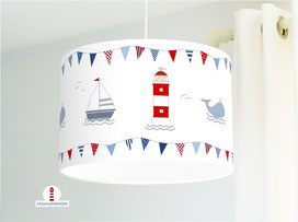 Lampenschirm für Kinderzimmer mit Leuchtturm, Wal und Segelboot aus Baumwollstoff - alle Farben möglich
