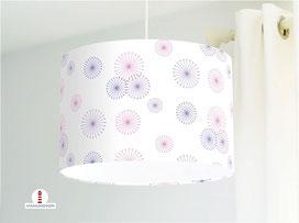 Lampe für Kinderzimmer und Mädchen mit Blumen in Lila und Rosa aus Baumwolle - alle Farben möglich