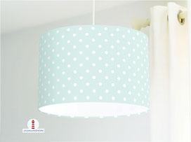 Lampe für Mädchen und Kinderzimmer mit weißen Punkten auf hellem Mint aus Baumwollstoff - alle Farben möglich