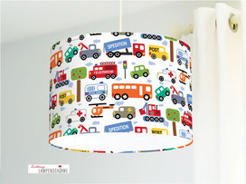 Lampe Kinderzimmer Autos aus Bio-Baumwollstoff - alle Farben möglich