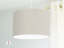 Lampe Muster geometrisch Quadrate in Grau-Braun aus Baumwollstoff - alle Farben möglich