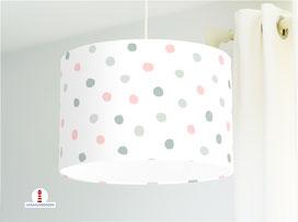 Lampe Kinderzimmer Punkte in Mint und Rosa aus Bio-Baumwolle - alle Farben möglich