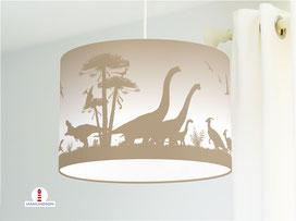 Kinderzimmer Lampe Dinosaurier in Cappuccino aus Baumwollstoff - alle Farben möglich