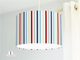 Lampe für Kinderzimmer mit Streifen aus Bio-Baumwollstoff - alle Farben möglich