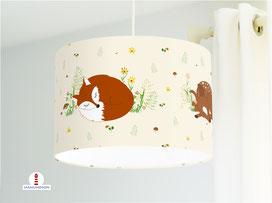 Lampe für Kinderzimmer mit Fuchs Hase und Rehkitz aus Bio-Baumwolle - alle Farben möglich