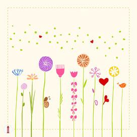 Kissen Panel zum Selbernähen für Babys und Mädchen mit bunten Blumen auf hellem Beige - Baumwollstoff - alle Farben und Namen möglich - DIY