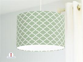 Lampenschirm für Schlafzimmer mit skandinavischem Muster in Salbei aus Baumwolle - alle Farben möglich
