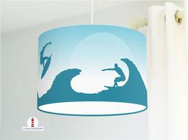 Lampe für Kinderzimmer mit Surfern in Petrol aus Baumwollstoff - alle Farben möglich