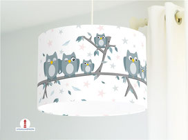 Lampe Kinderzimmer Eulen in Blaugrau und Altrosa aus Baumwollstoff - alle Farben möglich