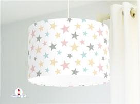 Lampe Kinderzimmer Sterne Pastell aus Bio-Baumwollstoff - alle Farben möglich