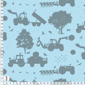 Bio-Stoff Traktor Bauernhof für Jungs und Kinderzimmer aus Bio-Baumwolle - alle Farben möglich