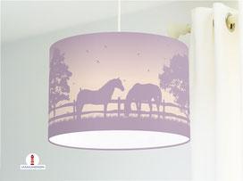Lampe Mädchen Kinderzimmer Pferde in Altflieder und Rosé aus Bio-Baumwolle - alle Farben möglich