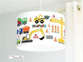 Deckenlampe fürs Kinderzimmer und Jungs mit Baustelle aus Baumwollstoff in Weiß