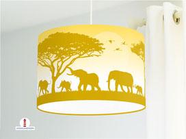 Lampe Kinderzimmer Elefanten Senfgelb Ocker aus Bio-Baumwolle - alle Farben möglich