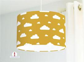 Lampe für Mädchen und Kinderzimmer mit Wolken auf Senf-Gelb aus Baumwollstoff - alle Farben möglich