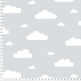 Stoff für Babys und Kinderzimmer mit weißen Wolken auf Hellgrau zum Nähen aus Baumwolle - alle Farben möglich