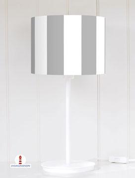 Lampenschirm für Tischlampe breite Streifen Grau und Weiß maritim aus Baumwolle - alle Farben möglich