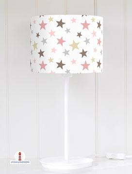 Lampenschirm für Tischlampe Kinderzimmer Sterne aus Baumwolle - alle Farben möglich
