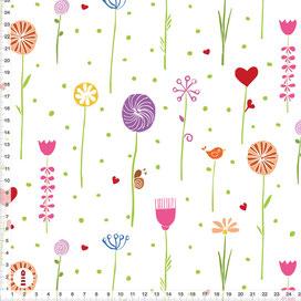 Bio-Stoff Kinderzimmer Mädchen bunte Blumen aus Baumwollstoff - alle Farben möglich