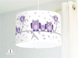 Lampe Kinderzimmer Eulen Lila Weiß aus Bio Baumwollstoff - alle Farben möglich