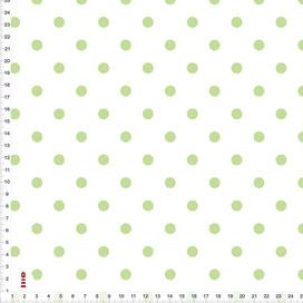 Bio-Stoff für Babyzimmer und Kinderzimmer mit grünen Punkten auf Weiß aus Baumwollstoff - alle Farben möglich