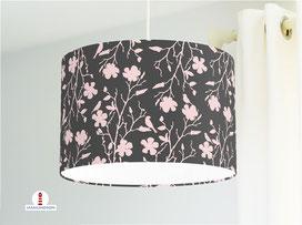 Lampe Mädchenzimmer Blumen Vögel Altrosa und Dunkelgrau aus Bio-Baumwolle - alle Farben möglich