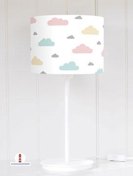 Lampenschirm für Tischlampe Kinderzimmer Lampe Wolken pastell aus Baumwollstoff - alle Farben möglich
