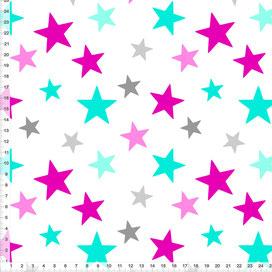 Bio-Stoff fürs Kinderzimmer und Babys mit Sternen in Pink, Türkis und Grau auf Weiß zum Nähen - alle Farben möglich