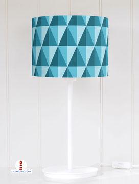 Lampenschirm für Tischlampe Wohnzimmer mit geometrischem Muster im Retrodesign in Petrol aus Baumwolle - alle Farben möglich