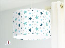 Lampe Kinderzimmer Sterne aus Bio-Baumwollstoff - alle Farben möglich