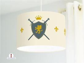 Lampe Kinderzimmer Junge Ritter Wappen Schild aus Baumwollstoff - alle Farben möglich