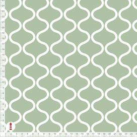 Bio-Stoff Schlafzimmer mit skandinavischem Muster in Salbei aus Baumwolle zum Nähen - alle Farben möglich