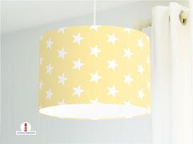 Lampe für Kinderzimmer mit Sternen in hellem Gelb aus Baumwollstoff - alle Farben möglich