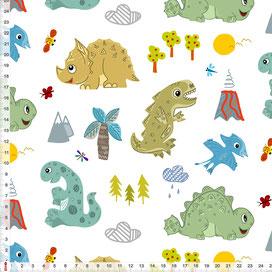 Bio-Stoff Dinosaurier Kinderzimmer Junge aus Baumwollstoff - alle Farben möglich