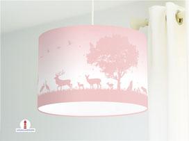 Lampe Wald Kinderzimmer in hellem Altrosa aus Bio-Baumwollstoff - alle Farben möglich