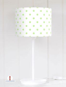 Lampenschirm für Tischlampe Kinderzimmer mit grünen Punkten auf Weiß aus Baumwollstoff - alle Farben möglich