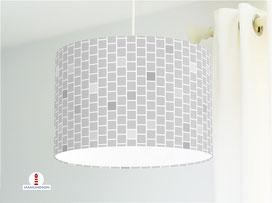 Lampe Muster geometrisch Quadrate in Grau-Tönen aus Baumwollstoff - alle Farben möglich