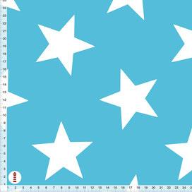 Bio-Baumwolle Stoff Sterne in Türkisblau zum Nähen - alle Farben möglich