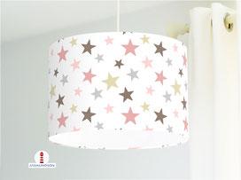 Lampe für Kinderzimmer mit Sternen aus Bio-Baumwollstoff - alle Farben möglich