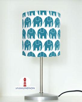 Nachttischlampe für Kinderzimmer und Babys mit petrol-blauen Elefanten aus Baumwolle - andere Farben möglich